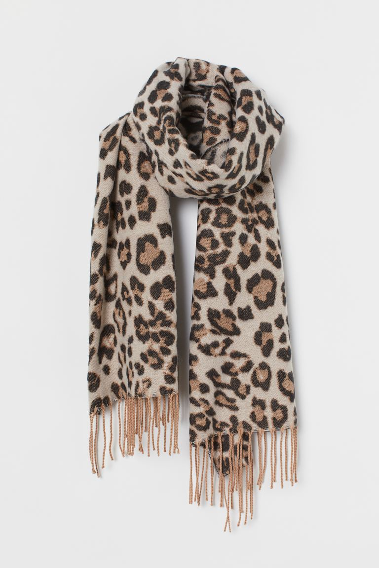 Fringed scarf - Light beige/Leopard print - Ladies | H&M