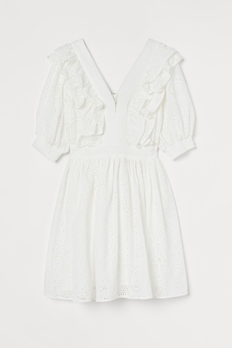 Broderie anglaise dress - White - Ladies | H&M IE