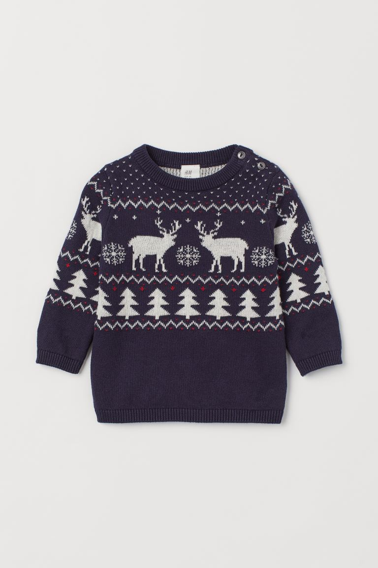 Jacquard-knit Cotton Sweater - Dark blue/reindeer - Kids | H&M US