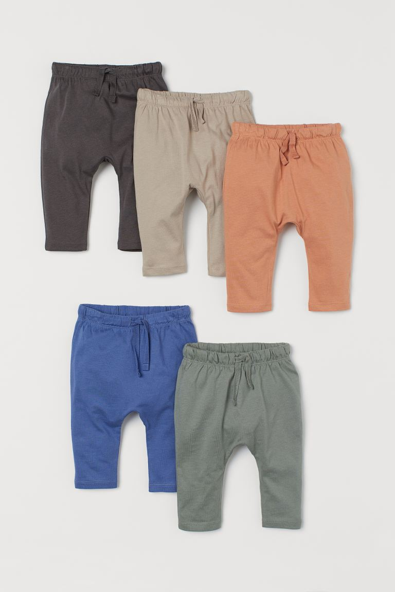 5-pack cotton trousers - Khaki green/Orange - Kids | H&M