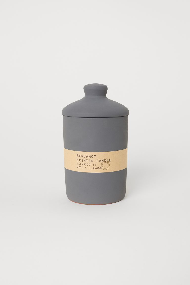 Large scented candle - Grey/Bergamot - Home All | H&M GB