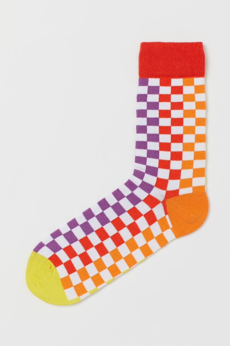 Patterned socks - White/Chequered - Men | H&M GB
