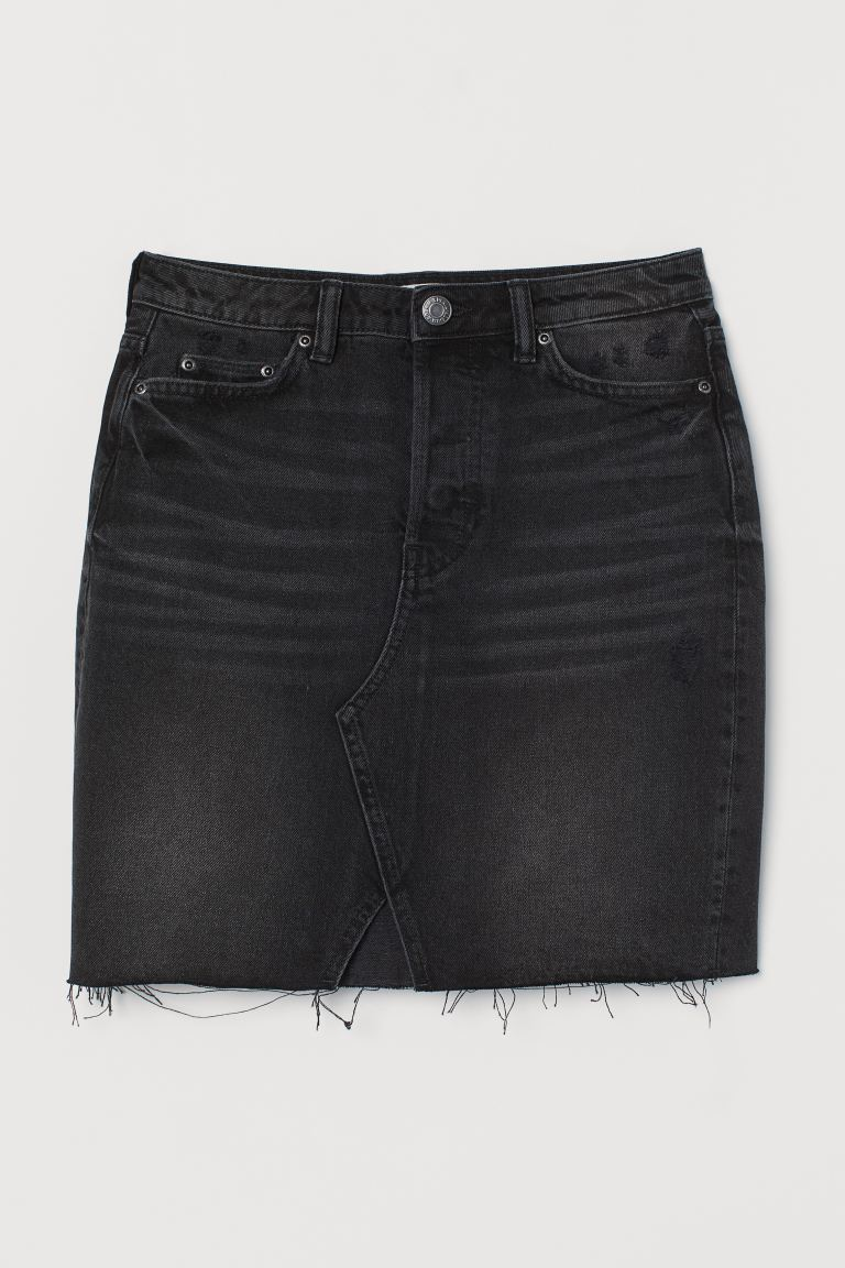 Jeansrok - Zwart/washed out - DAMES | H&M BE