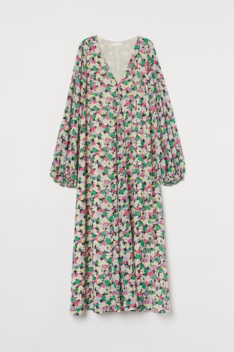 Balloon-sleeved dress - Cream/Floral - Ladies | H&M GB