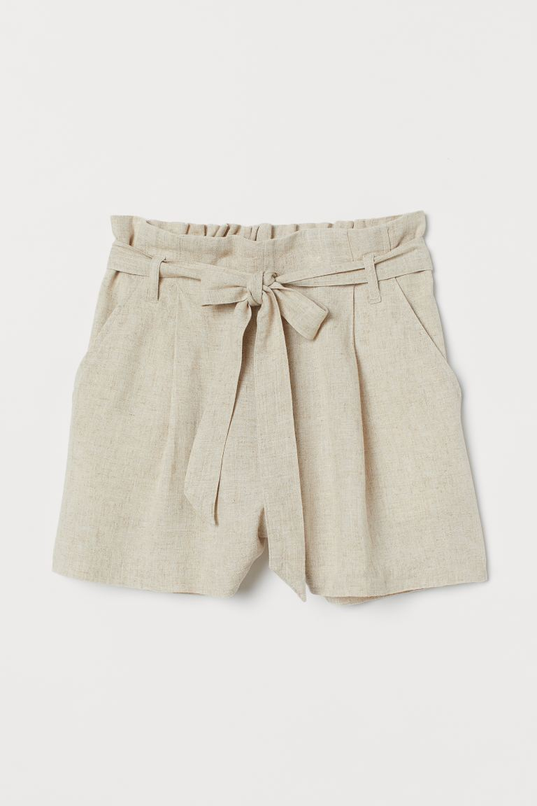 Paper bag shorts - Light beige - Ladies | H&M IE