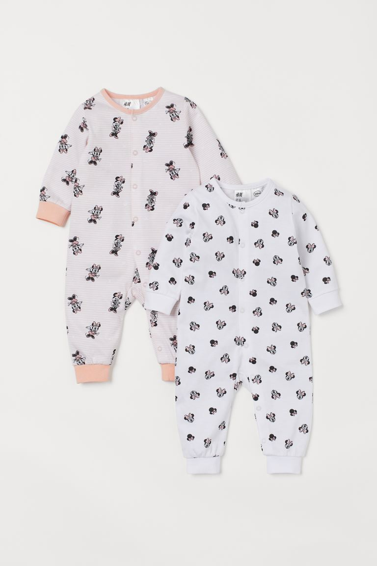 2-pack all-in-one pyjamas - Light pink/Minnie Mouse - Kids | H&M IN