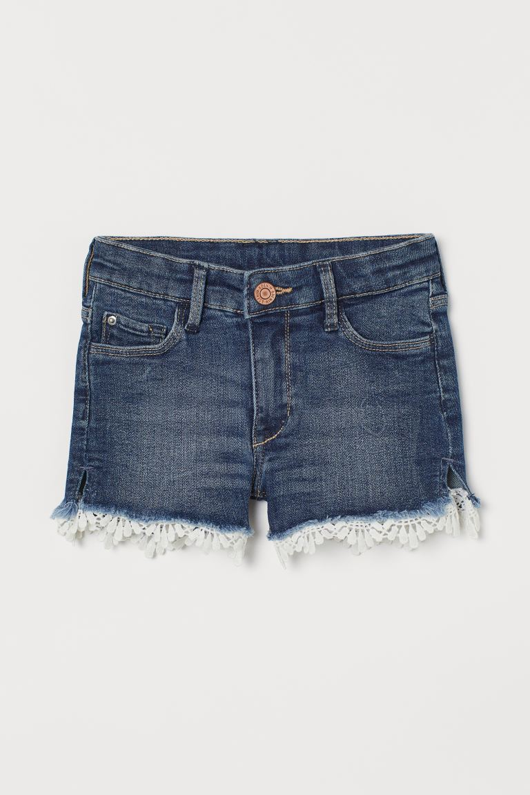 Lace-trimmed denim shorts - Denim blue - Kids | H&M