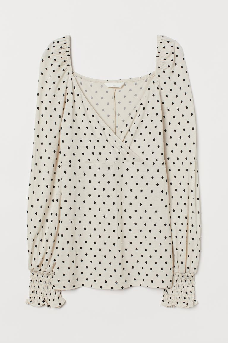 MAMA Nursing Top - Light beige/dotted - Ladies | H&M US