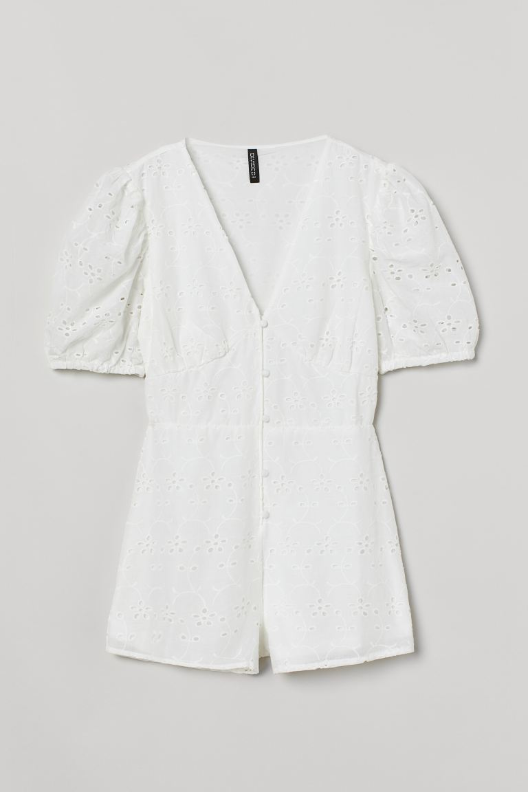 Puff-sleeved playsuit - White - Ladies | H&M