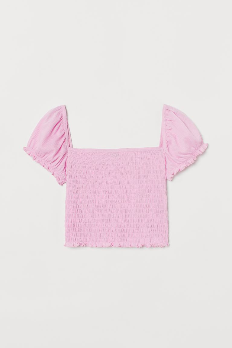 Smocked Cropped Top - Pink - Ladies | H&M CA