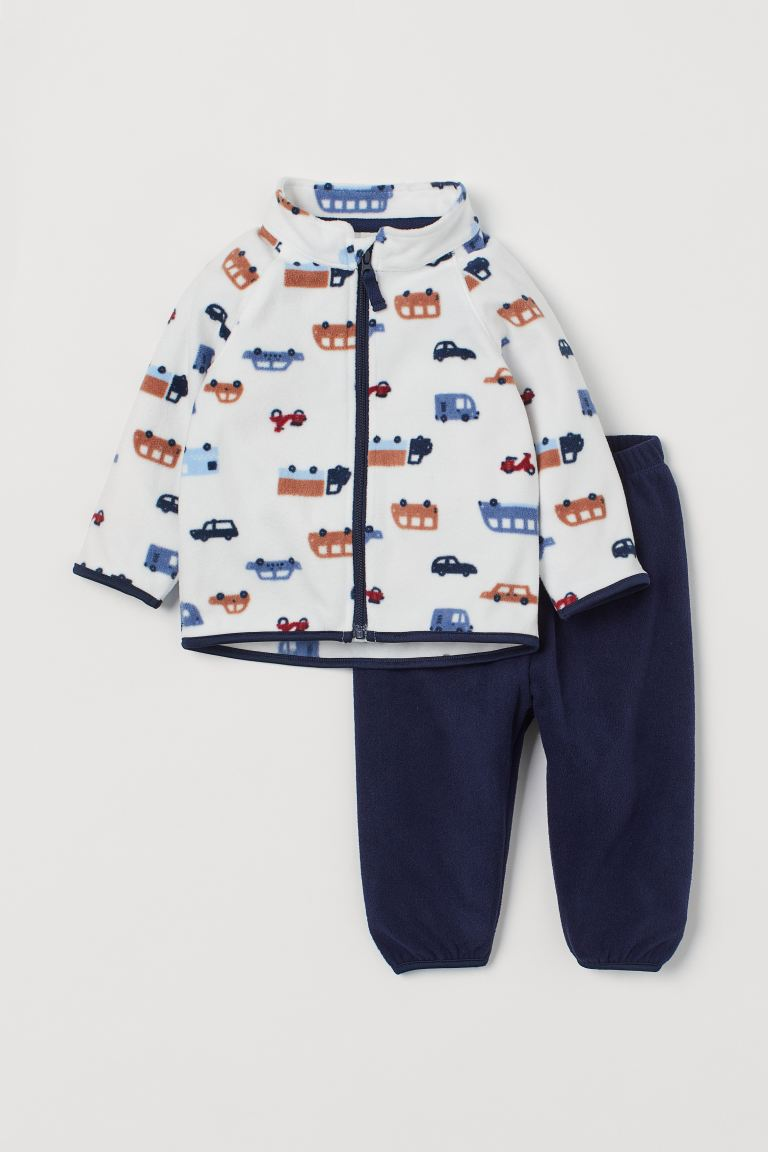 Fleece Jacket and Pants - White/cars - Kids | H&M US