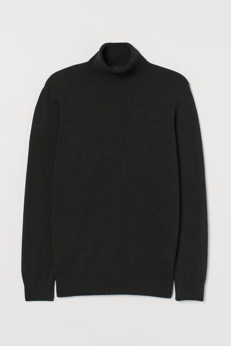 Fine-knit polo-neck jumper - Dark green marl - Men | H&M IN