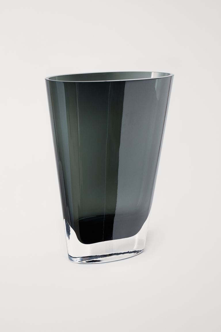 Large glass vase - Dark grey - Home All | H&M IE