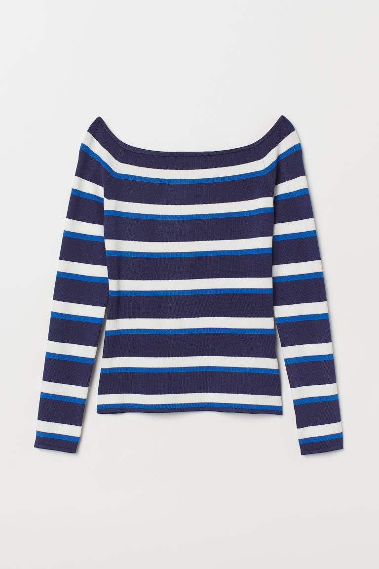 Off-the-shoulder top - Dark blue/Striped - Ladies | H&M GB