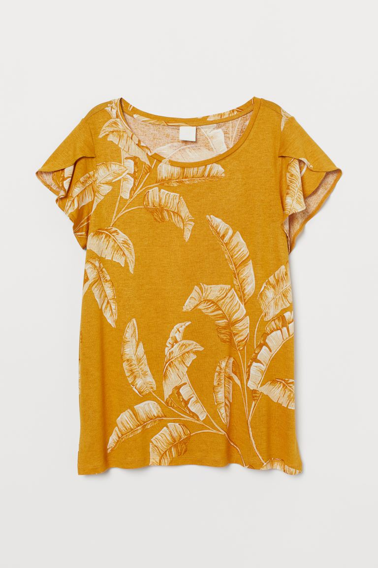 Flounce-sleeved Top - Dark yellow/leaf print - Ladies | H&M US