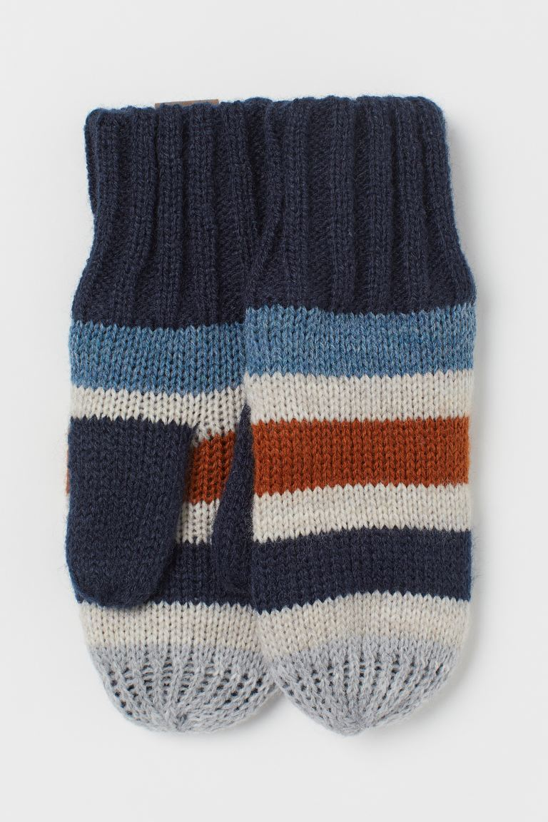 Knit Mittens - Navy blue/striped - Kids | H&M CA