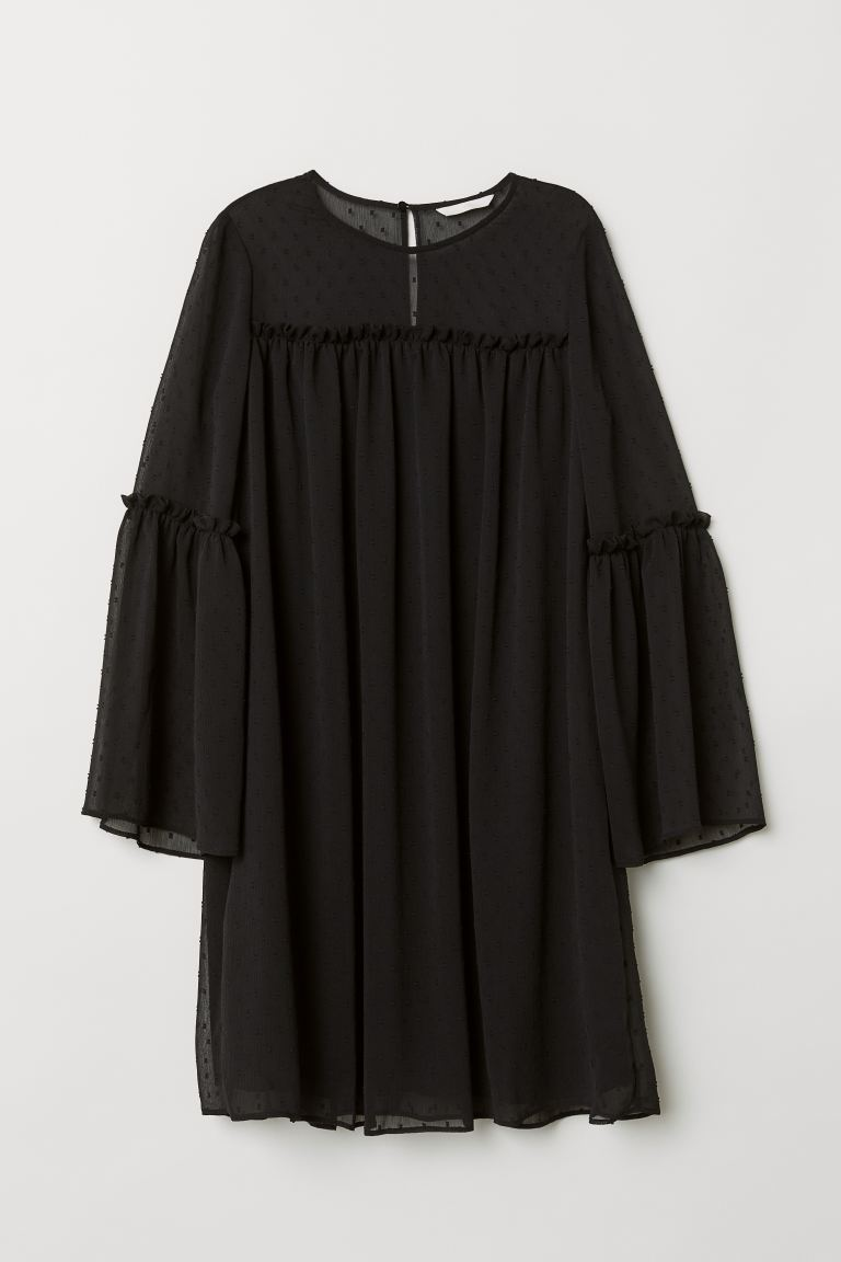 Chiffon Dress - Black - Ladies | H&M US