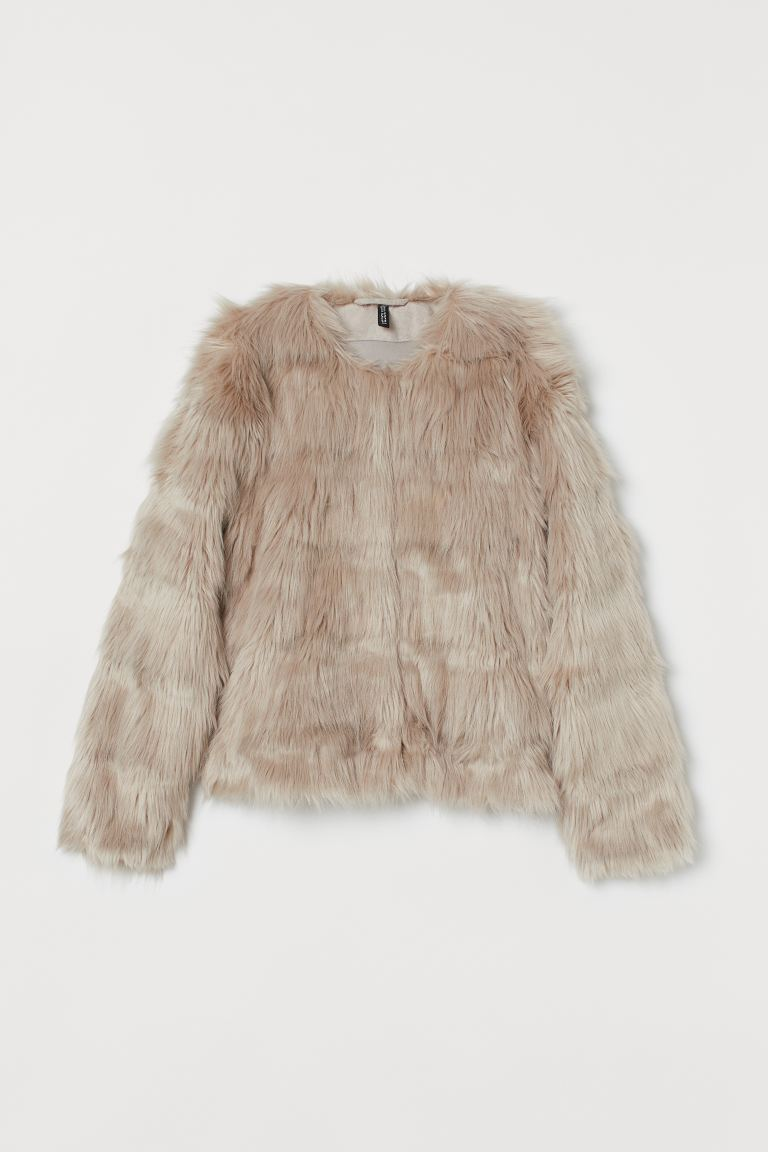 Short Faux Fur Jacket - Light taupe - Ladies | H&M CA