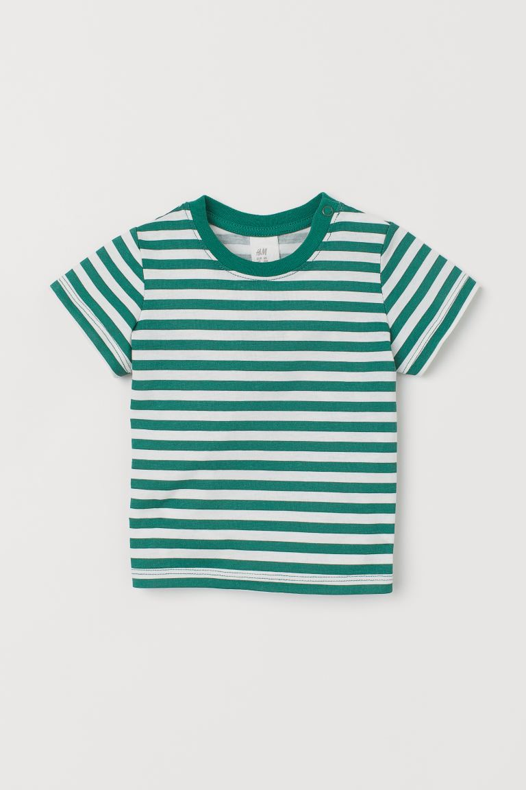 T-shirt con stampa - Verde/bianco righe - BAMBINO | H&M CH
