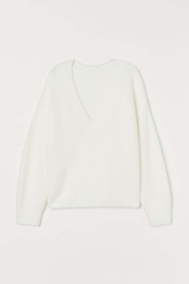 Rib Sweater - White - Ladies | H&M AU