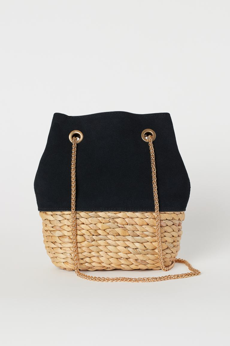 Bucket Bag with Suede Details - Black/light beige - Ladies | H&M US