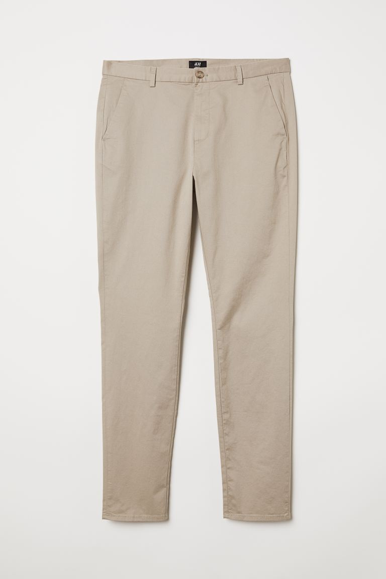 Cotton chinos Slim Fit - Beige - Men | H&M GB
