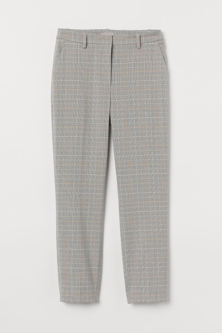 Cigarette trousers - Light grey/Checked - Ladies | H&M GB