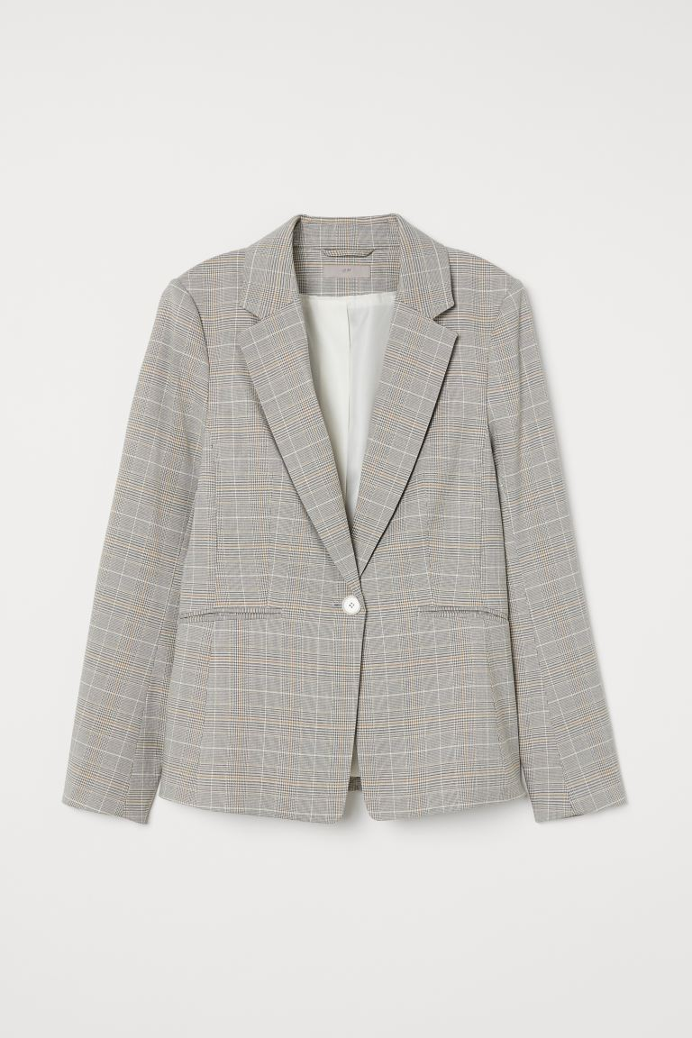 Fitted Jacket - Light grey/Check - Ladies | H&M AU