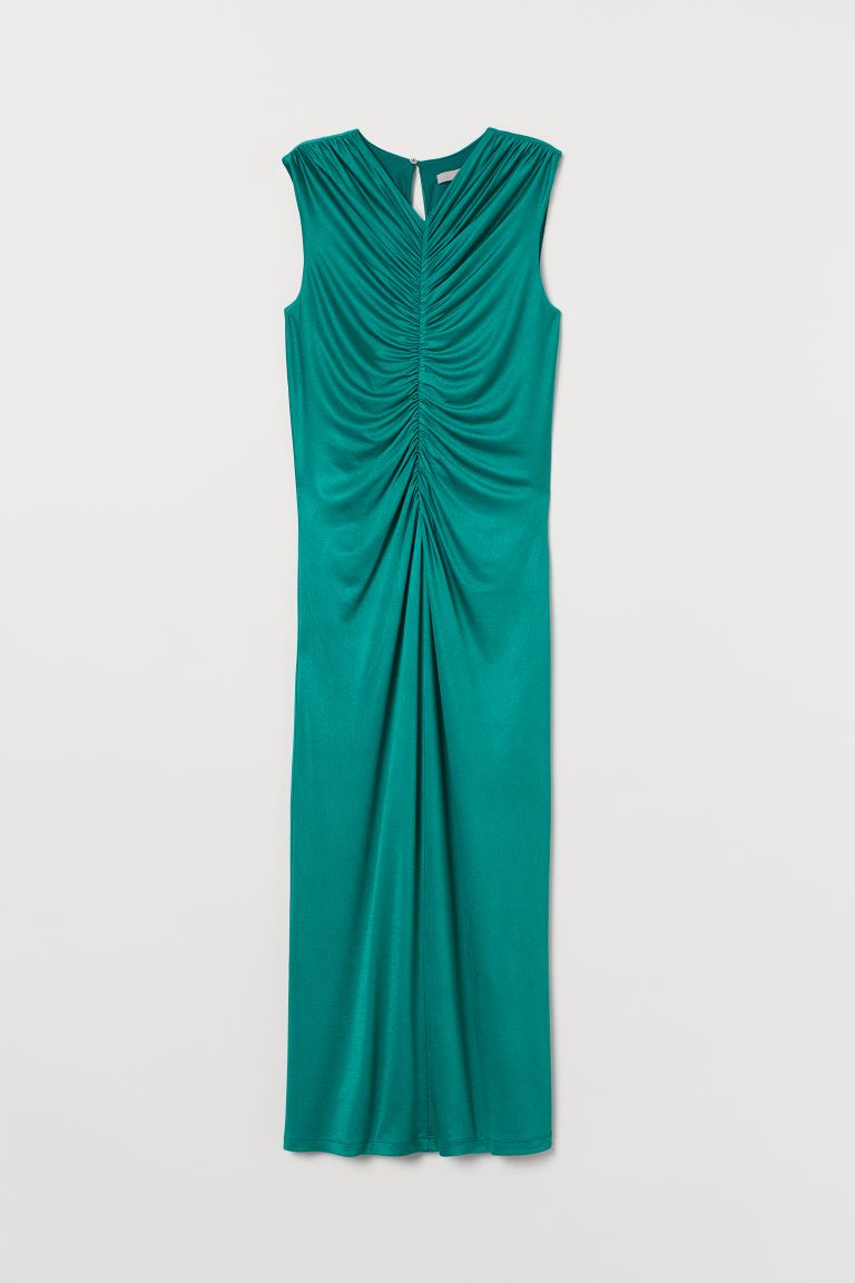 Draped dress - Emerald green - Ladies | H&M GB