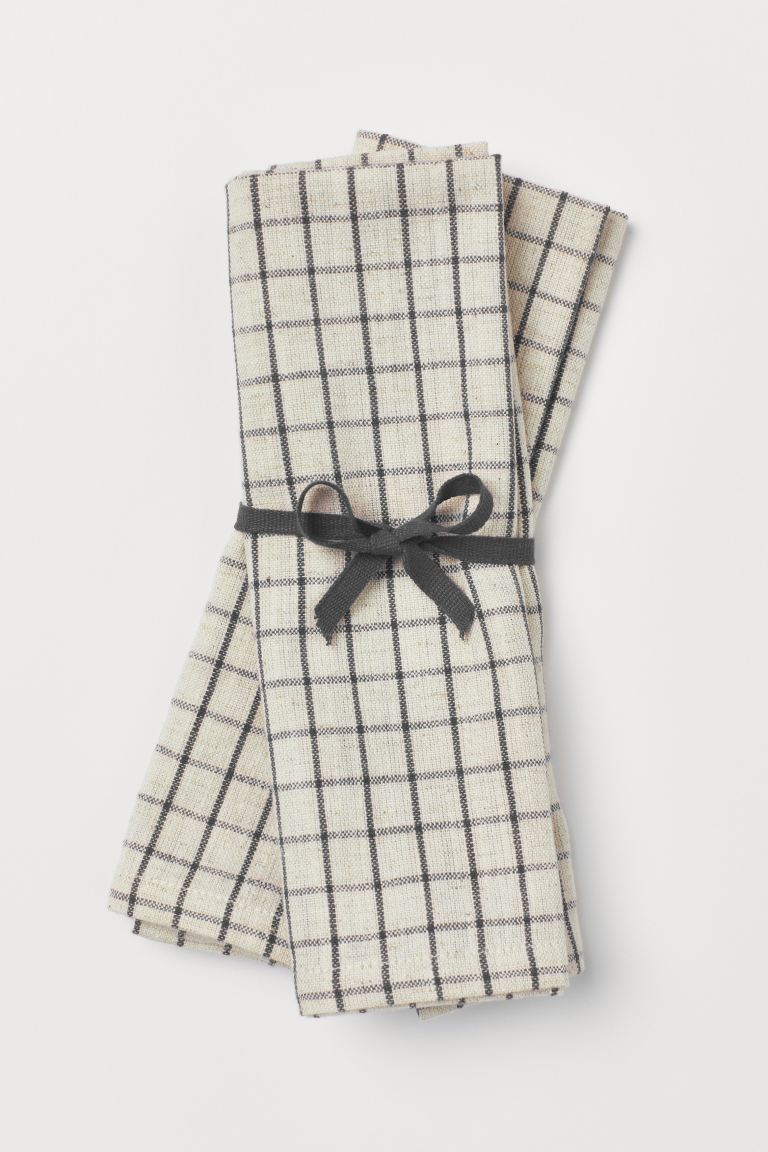 2-pack Linen-blend Napkins - Dark gray/checked - Home All | H&M US
