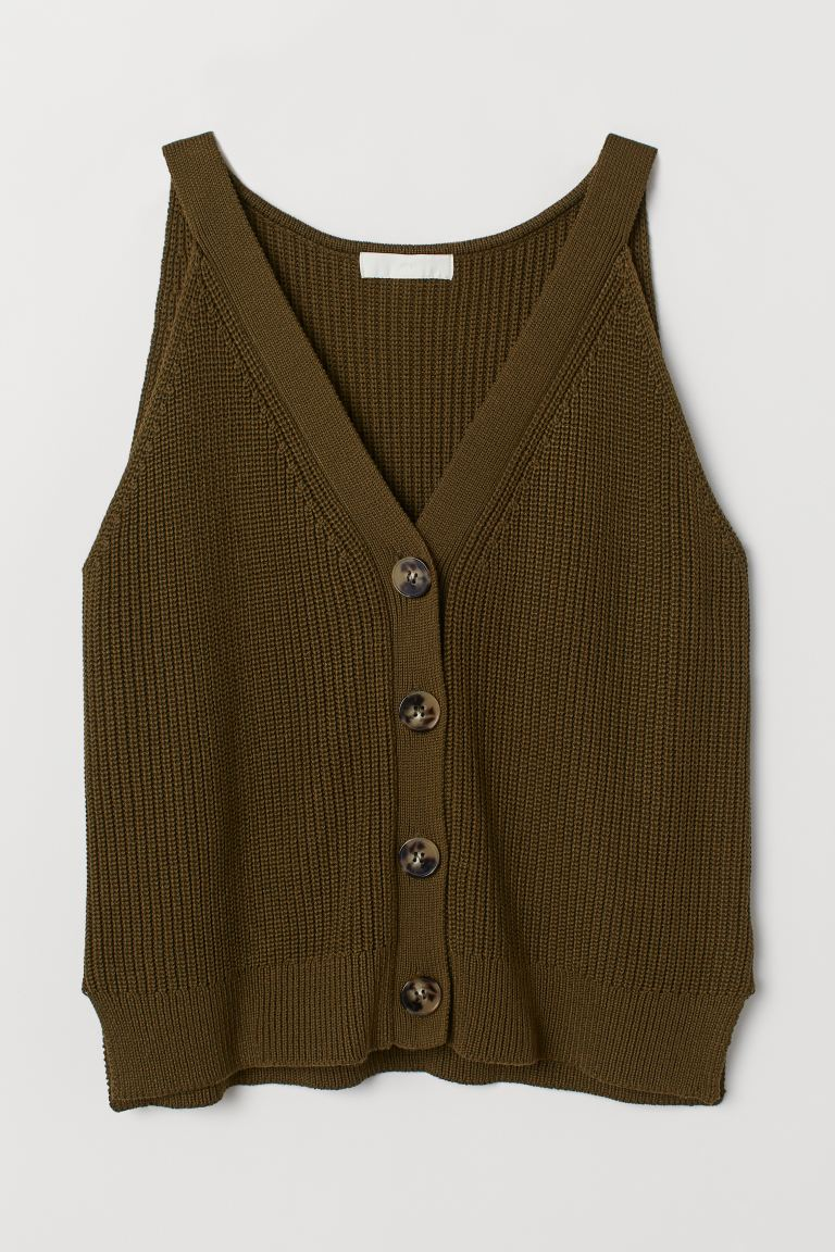 Knit Sweater - Khaki green - Ladies | H&M US