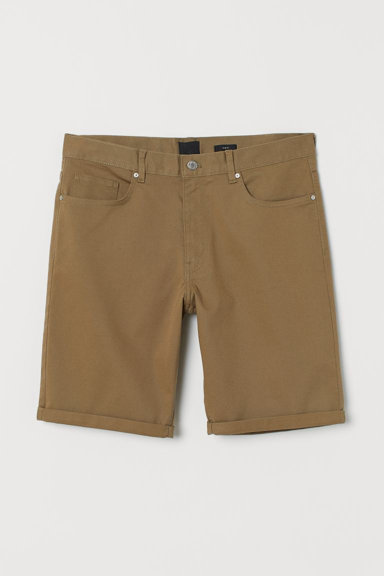 Shorts de algodón Slim Fit - Beige oscuro - Men | H&M MX