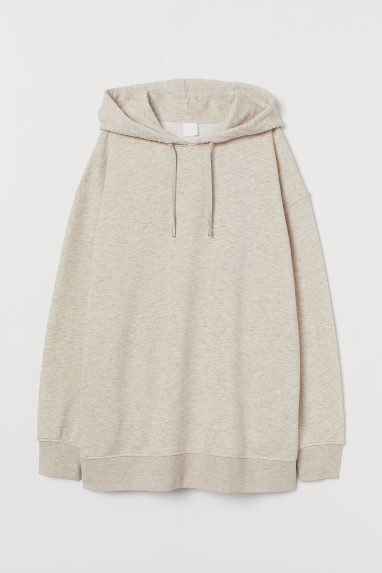 Oversized hooded top - Light beige marl - Ladies | H&M GB