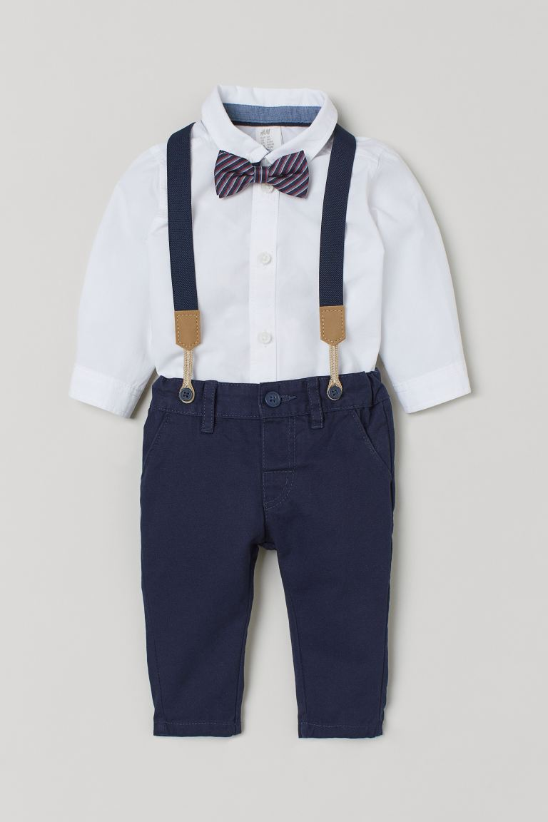 Camisa y chinos - Blanco/Azul oscuro - Kids | H&M MX