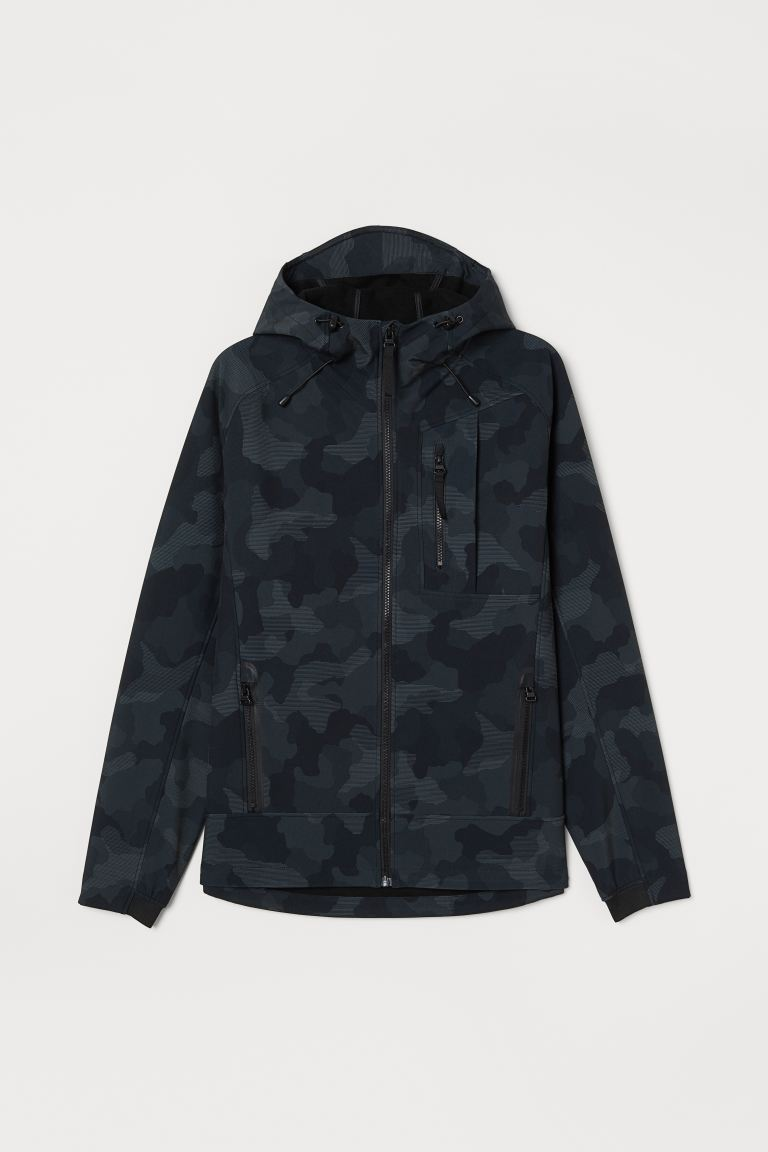 Softshell jacket - Dark grey/Patterned - Men | H&M IN