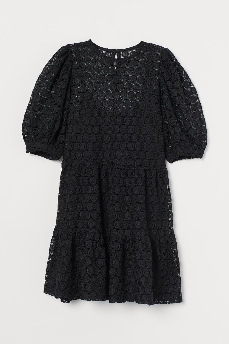Puff-sleeved Lace Dress - Black - Ladies | H&M US