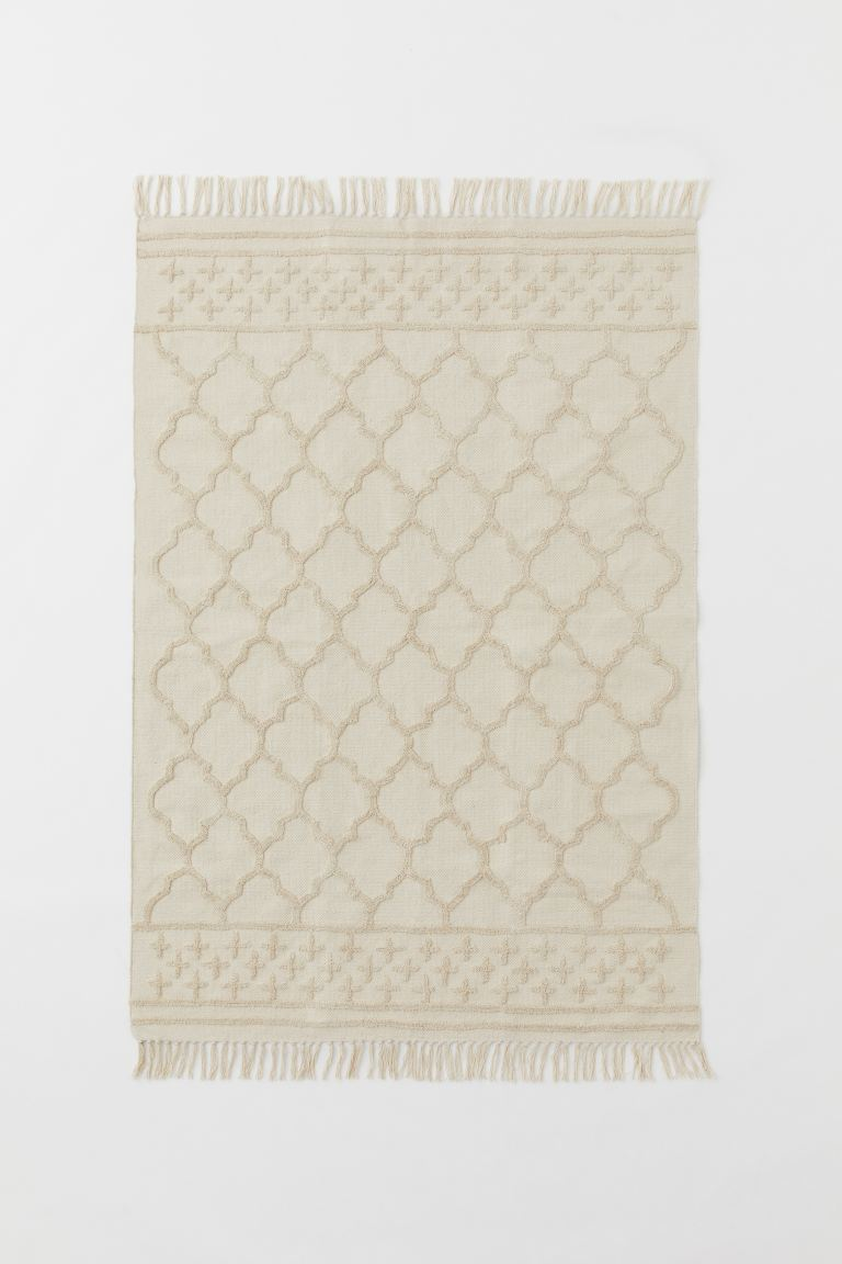 Tasseled Cotton Rug - Natural white - Home All | H&M US