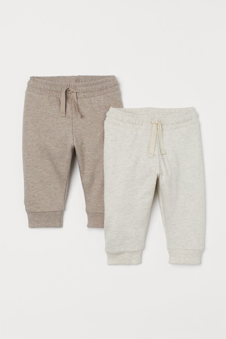 2-pack Cotton Joggers - Beige melange/light taupe - Kids | H&M CA