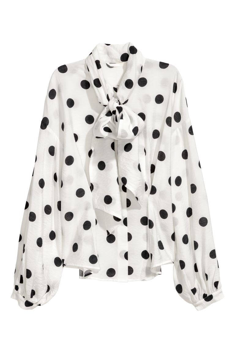 Tie-front blouse - White/Black spotted - Ladies | H&M GB