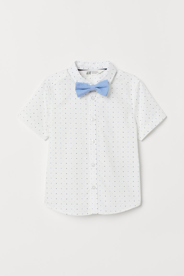 Cotton Shirt - Blue dotted/bow tie - Kids | H&M US