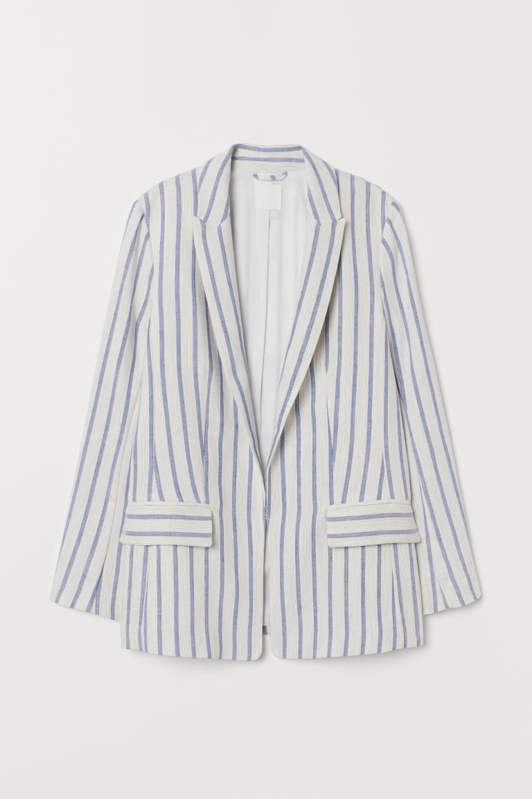 Gerader Blazer - Weiß/Blau gestreift - Ladies | H&M AT