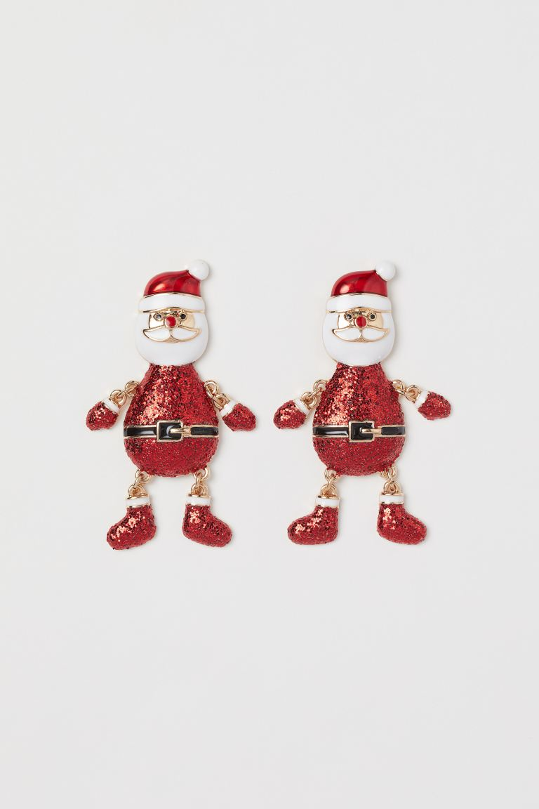 Santa Earrings - Red/gold-colored - Ladies | H&M CA