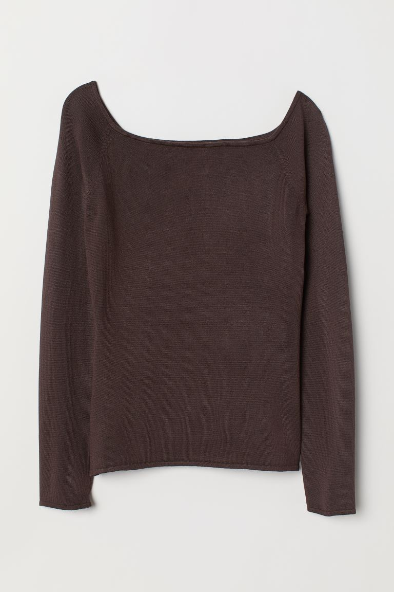Off-the-shoulder top - Dark brown - Ladies | H&M GB