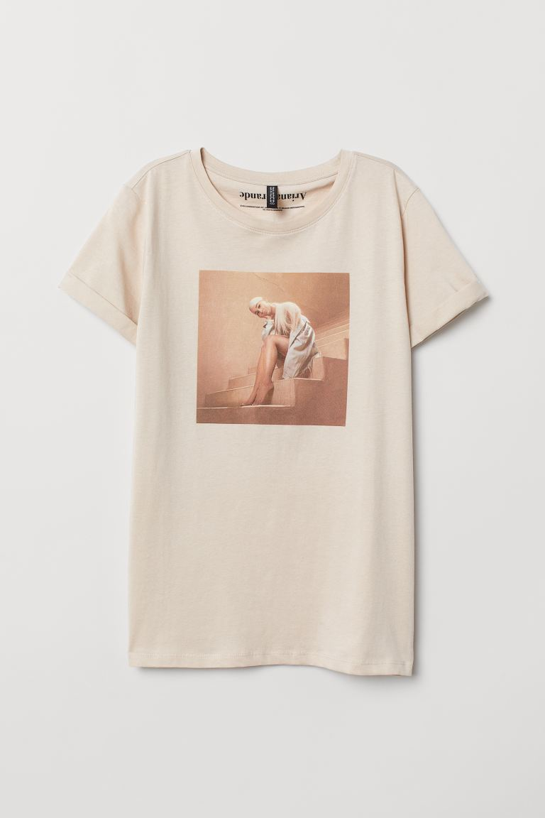 T-shirt with Motif - Light beige/Ariana Grande - Ladies | H&M CA