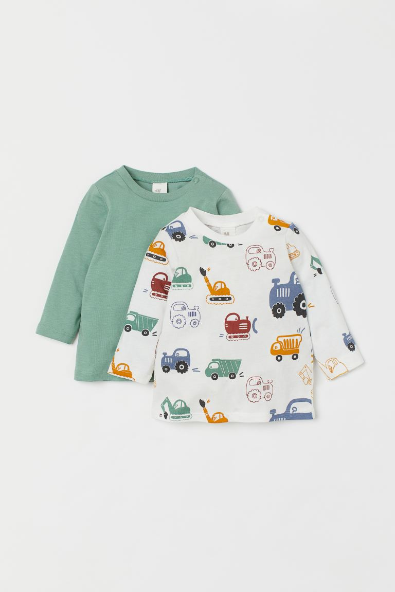 2-pack cotton tops - Green/Vehicles - Kids | H&M IN