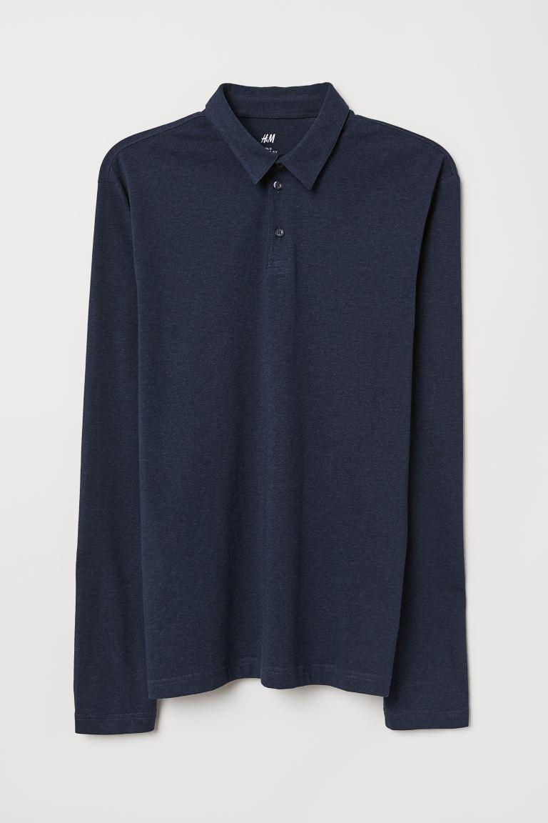 fine settimana sistema accelerazione  Polo maniche lunghe Slim Fit - Blu scuro mélange - UOMO   H&M CH