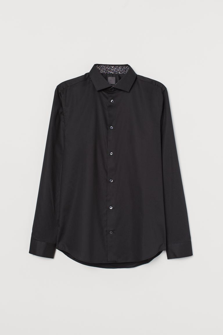 Premium cotton shirt - Black - Men | H&M IN