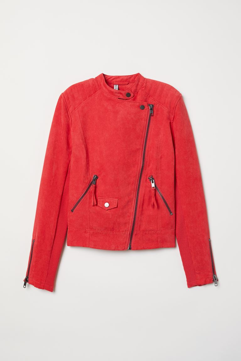 Biker Jacket - Raspberry red - Ladies | H&M US