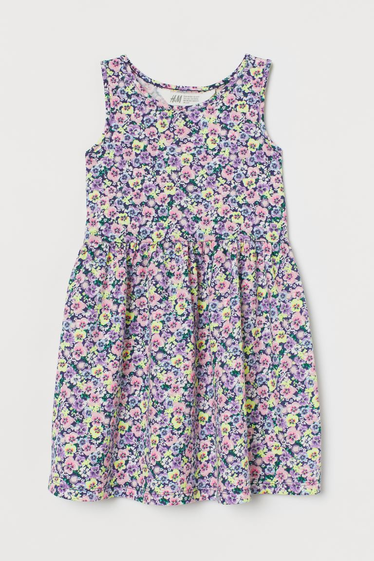 Patterned jersey dress - Dark blue/Pansies - Kids | H&M GB