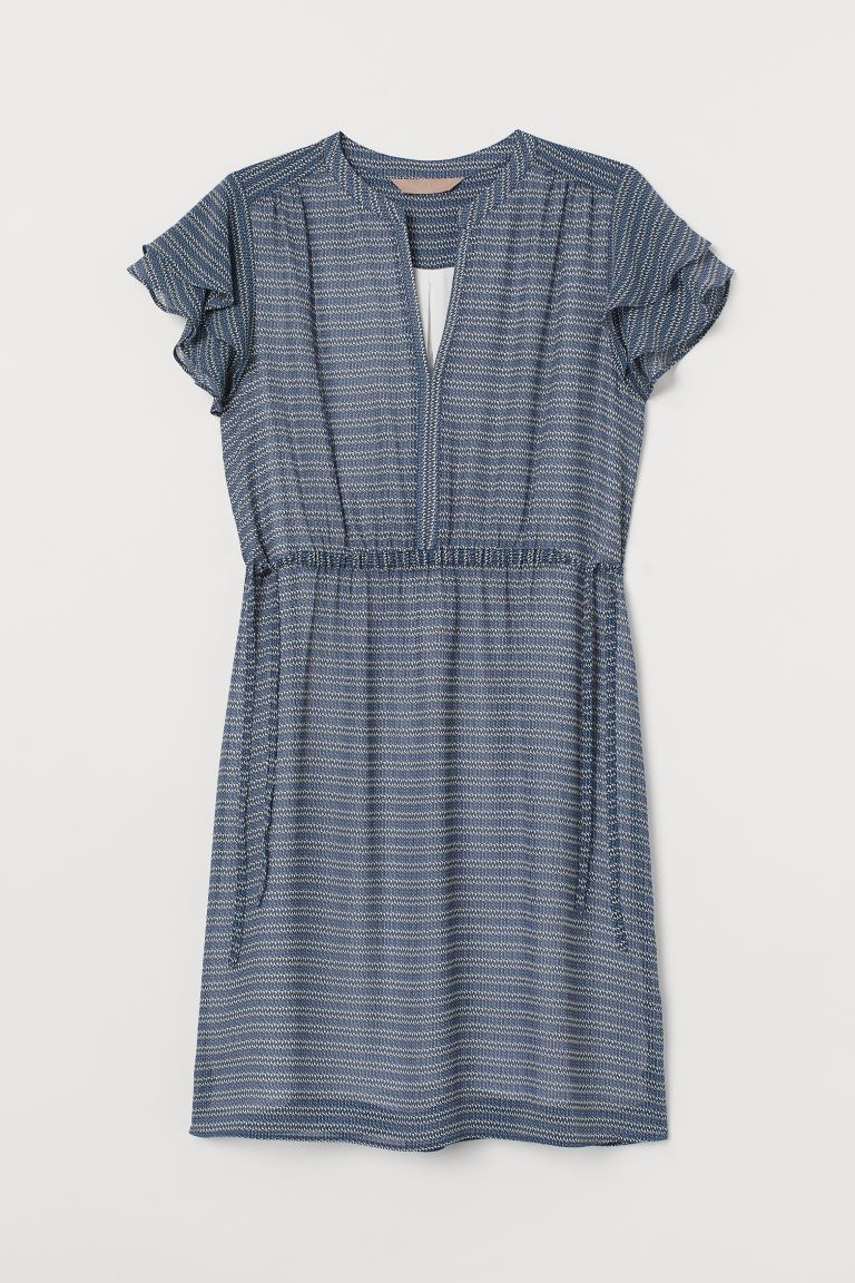 H&M+ Flutter-sleeved dress - Dark blue/Patterned - Ladies | H&M IN
